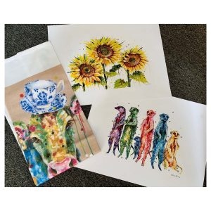 Mother's Day Gift Pack - small posters: Friendly Giants, Meercat Mob & Full Cream (cow) tea towel
