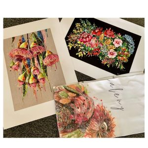 Mother's Day Gift Pack - small posters: Gumnut Burst, Bush Blooms & Tawny Frog Mouth tea towel