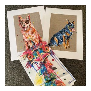 Mother's Day Gift Pack - small posters: Red Dog, Hey Blue & Where In The World Is Emu (emu) tea towel