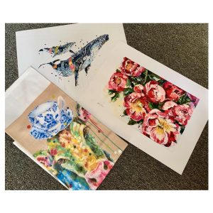 Mother's Day Gift Pack - small posters: Whispers, Peony Posies & Full Cream (cow) tea towel